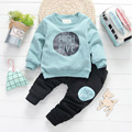 Infant baby winter girls clothing sets plus velvet sweatshirts letter printed pink tops + causal harem pants boys clothes suits
