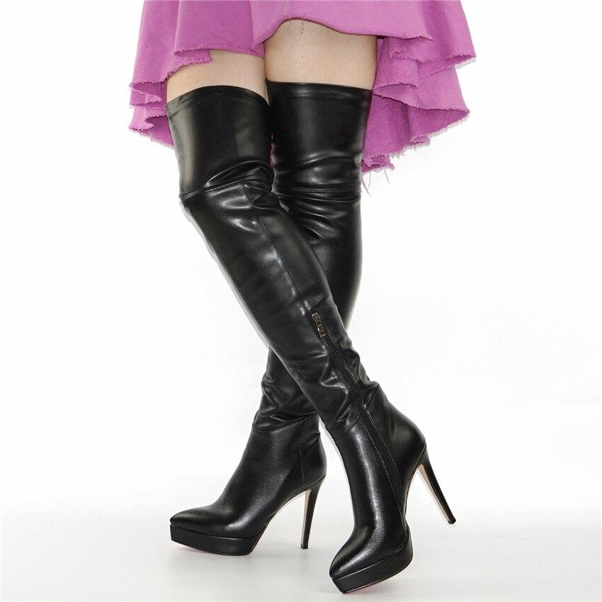 À Noir Mince Femmes Hauts Extensible Pointu Chaussures Pompes Haute Nayiduyun Sur Plateforme Bout Le Bottes Hautes Cuisse Talons Jambe qwPnInAH6B