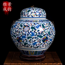 Jingdezhen ceramic vase colorful high jar ornaments of blue and white porcelain lotus flower landing