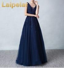 Laipelar 2018 Vestidos de Navy Blue A-line Party Dresses Vestido noite V-neck Elegant Appliques Prom Dress Ball Banquet