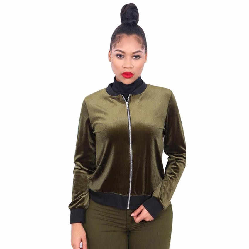 313c251f162 ... 2018 Autumn Winter Velvet Bomber Jacket Army Green Red Ladies Long  Sleeve Outerwear Women Basic Coats ...
