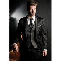 2018 Men's suits Black Custom Groom Tuxedos Best Man Peak Lapel Groomsmen Men Wedding Suits
