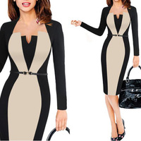 2019 Summer Women Retro Contrast Patchwork Belt Wear to Work Business One Piece Dress Suit vestidos Office Bodycon Pencil Female
