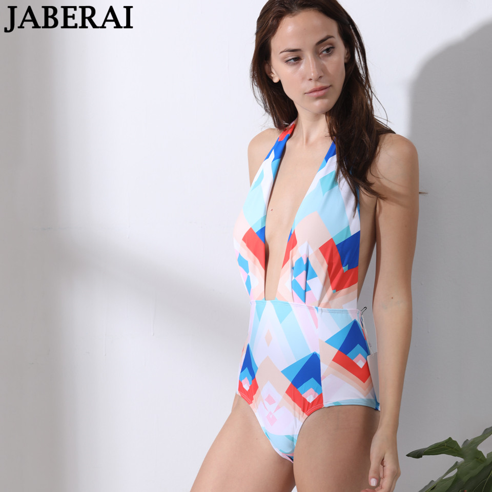 acd66948d0 JABERAI Sexy Backless One Piece Swimsuit 2019 Halter Push Up Swimwear Women  Summer Beachwear Bathing Suit Monokini Bodysuit-in Body Suits from Sports  ...