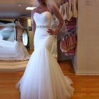 Robe Mariee Sweetheart Mermaid Wedding Gowns Pleated Tulle Wedding Dress Crystal Belt Bridal Dress Lace up Back Trouwjurk 2019