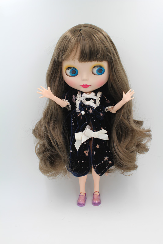 Free Shipping BJD joint RBL-246MJ DIY Nude Blyth doll birthday gift for girl 4 colour big eyes doll with beautiful Hair cute toy white lace details off shoulder bell sleeves crop top