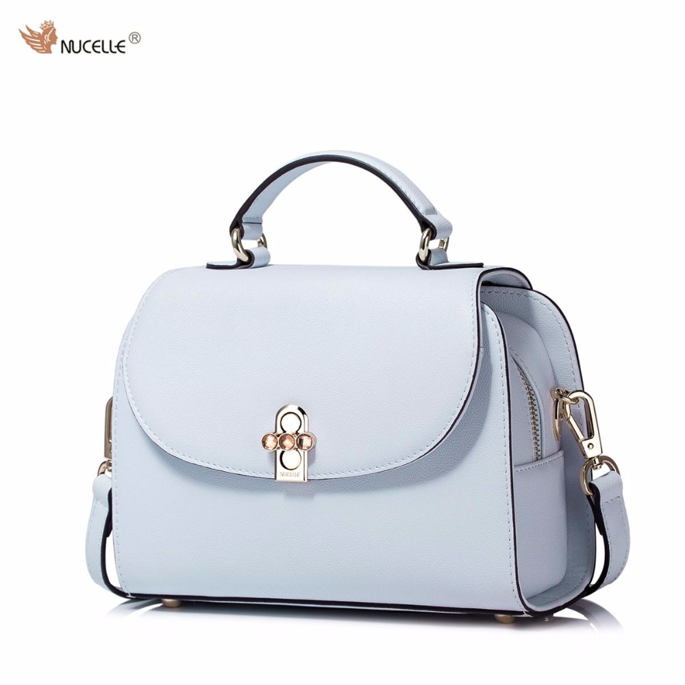 NUCELLE New Brand Design Simple Colors Cow Leather Rhinestone Lock Handbag Shoulder Crossbody Bag For Women Ladies
