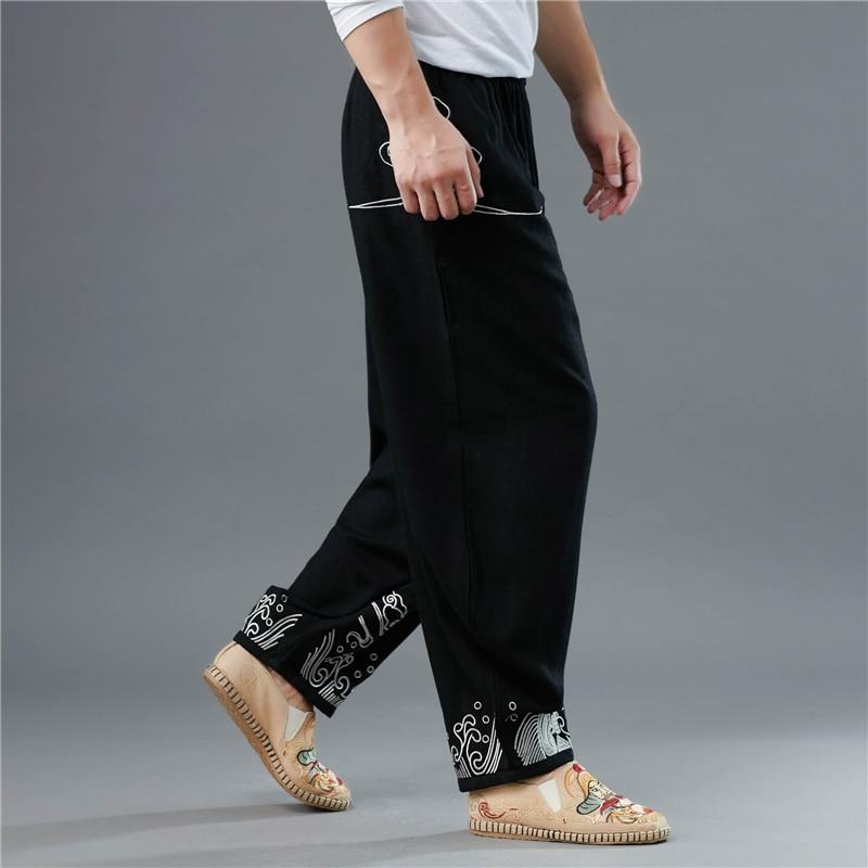 Grueso Lino Cintura Colorido Étnica Elástica Pantalones Sueltos Nube Bordado encaje Micro Hisenky Black Casual China w5SqE