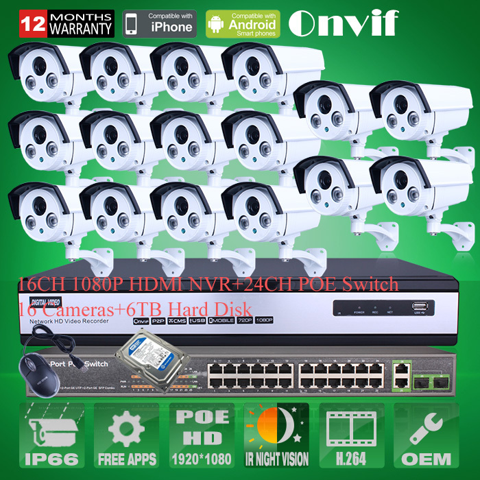 CCTV Onvif 16CH H.264 NVR Security System 1080P Outdoor HD Array IR IP Network POE Camera 24CH POE Switcher 6TB HDD 16ch poe nvr 1080p 1 5u onvif poe network 16poe port recording hdmi vga p2p pc