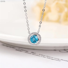 gemstone jewelry wholesale classic 925 sterling silver natural blue topaz charm necklace pendant for female
