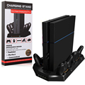PS4 Console Vertical Stand Dual Cooler Fans+Four Charger Ports Charging Station For PS4 Controllers - Best Cooling and Charging