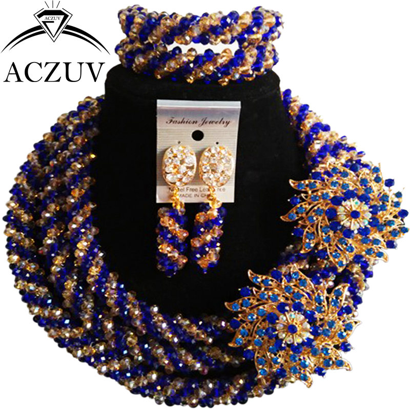 ACZUV Latest Royal Blue Gold Crystal Wedding Beads African Jewelry Set for Brides Nigerian Necklace and Earrings Bracelet A3R018