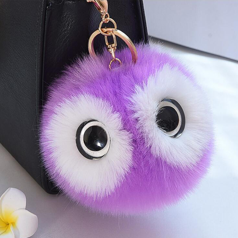 13CM Charm Fluffy Pompom Animal Owl Key Chain Ring Pendant Pom Pom Faux Rabbit Fur Ball Keychain For Women Car Handbag Keycover