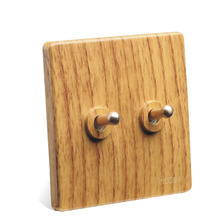 2pcs Toggle Switch Luxury Yellow Wood Color BE Retro Old Fashioned Two Open Double Control Bedside Power 86 Type