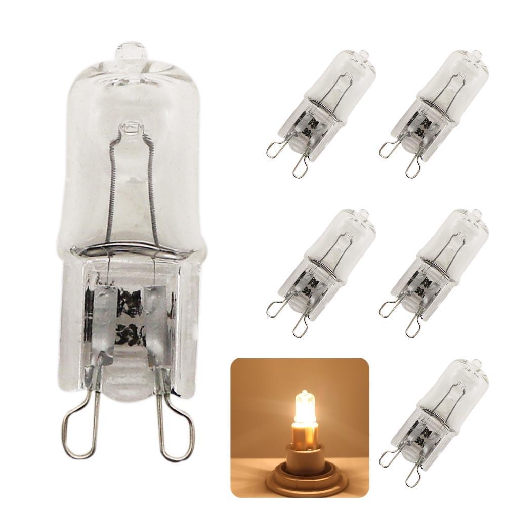 5x Super Bright G9 Halogen Light Bulb 25w 40w 60w Halogen G9 220V 3000K Warm White Indoor Clear Halogen G9 Lamp