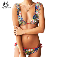 2017 Sexy Ladies V Neck Floral Hollow Out Thong Biquini Ruffled Swimsuit Swim Wear Bathing Suit