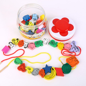 Игрушка для девочек, подарок, деревянные 45 больших бусин, бисер, амблиопия, для детей, для раннего образования, головоломки, игрушки для дете...