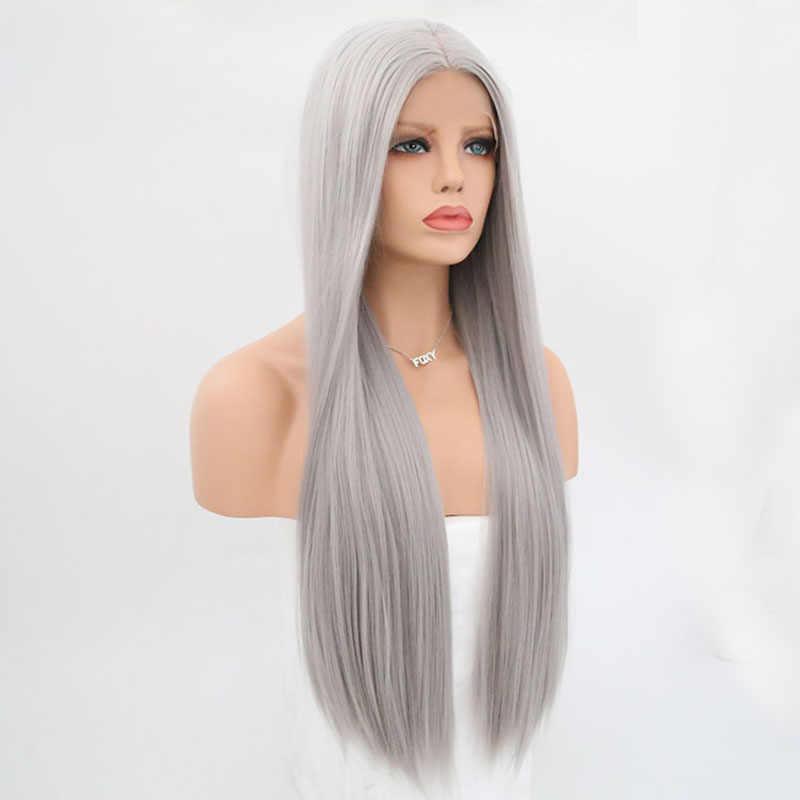 Peluca de pelo Natural liso y largo de color gris plateado resistente al calor, pelucas frontales de encaje sintético sin pegamento para mujeres, pelucas de Cosplay