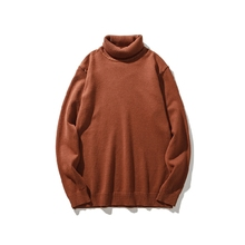 M-2XL 2017 autumn and winter new men's wild high collar solid color loose sweater tide hot sale