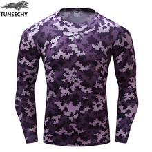 TUNSECHY Brand Bodybuilding Fitness Camouflage font b T shirt b font Quick Dry 3d Digital Print