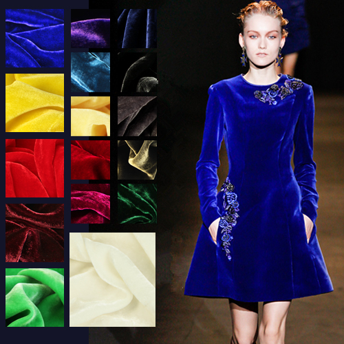 SV001.114cm Silk Velvet/Pure Color/Silk Fabric Mulberry Silk Inelasticity/Width 1.25yd Thickness 220g/m