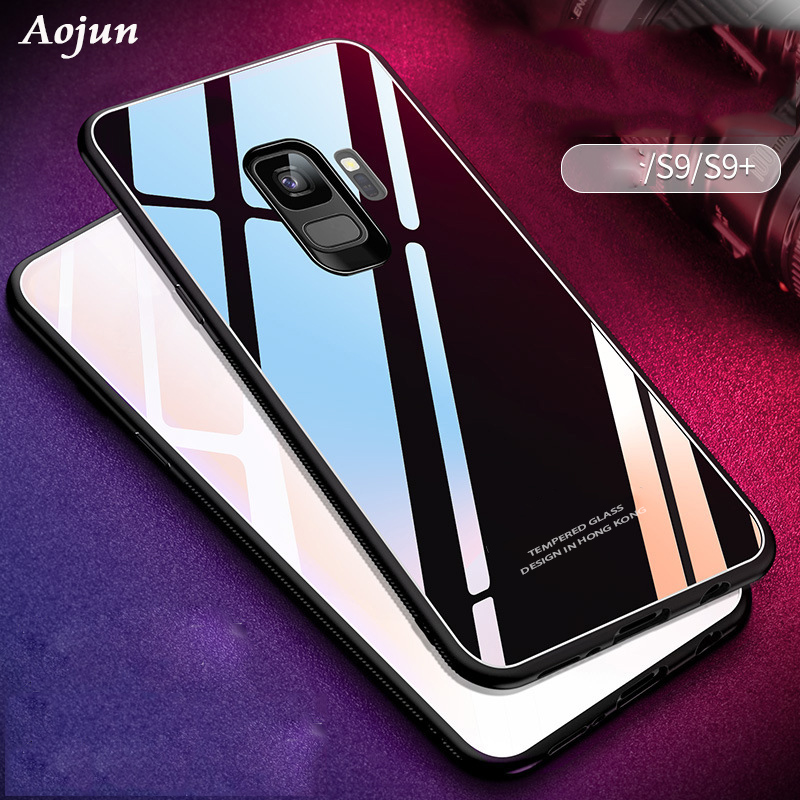 Aojun For Samsung Galaxy S9 Plus Tempered Glass Case Phone Bag Cover for Samsung Galaxy S 9 S9 Plus Back Glass Shell