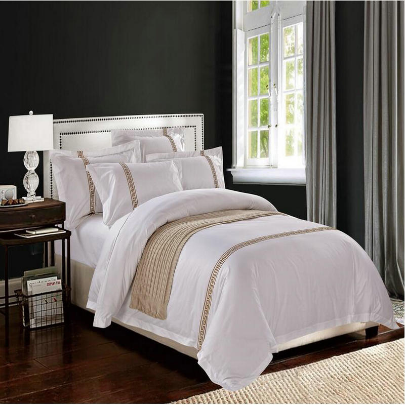 White Embroidered Hotel Duvet Cover Luxury 4pcs Satin