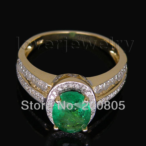 Vintage Oval 6x8mm Gemstone Solid 14kt Yellow Gold Natural Diamond Green Emerald Wedding Ring Trendy Jewelry RL0082 new vintage 14kt rose gold diamond kunzite ring wedding ring oval 10x17mm r00324