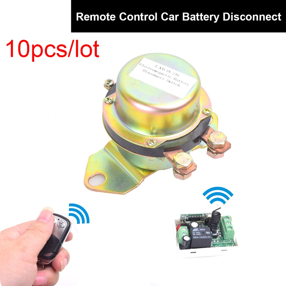 10PCS DC 12V Automobile Electromagnetic Solenoid Valve Power Switch + Remote Control Terminal Master Kill System Latching Relay