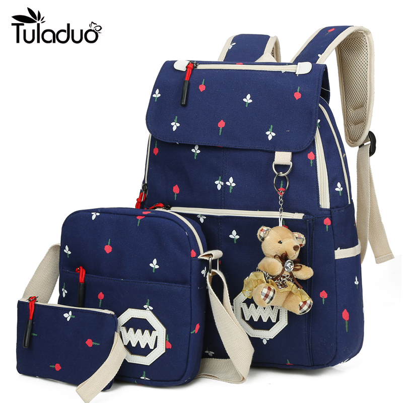 2017 Fashion Canvas Backpack Schoolbags School For Girl Teenagers Women Casual Travel Bags Rucksack Cute Printing Children promotion women s panelled canvas backpacks student school bags for boy girl teenagers casual rucksack daybags