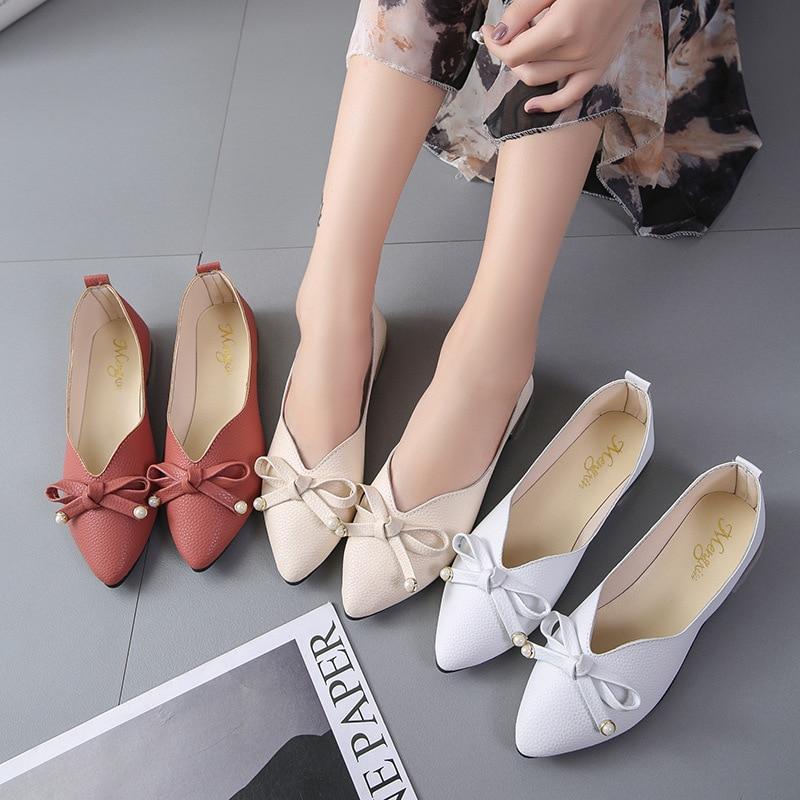 Chaussures Véritable white Solide pink Automne 2018 Femmes Plat Appartements Bout Hiver D'hiver Pointu Beige Plates Cuir En Femme Casual Axqnp4R