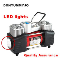 LED Lights Digital Pressure Preset 12v Air Compressor Car Tyre Inflator Double Cylinder Metal Car Tire