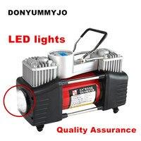 LED lights Digital Pressure Preset 12v Air Compressor Car Tyre Inflator Double Cylinder Metal Car Tire Inflator High Air Pump