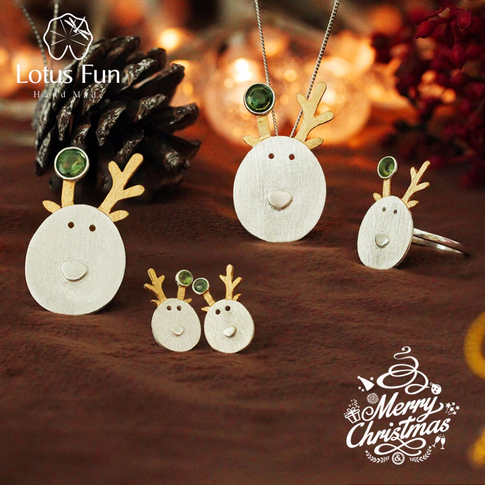 Lotus Fun Real 925 Sterling Silver Creative Handmade Fine Jewelry Christmas Joys Cute Reindeer Jewelry Set