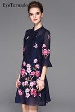 2017 Женщины Весна Лето Мода Марка Цветок Вышивка Flare Длинные Рукава Повседневная Пляж Винтаж Богемский Платье 9324 Vestidos