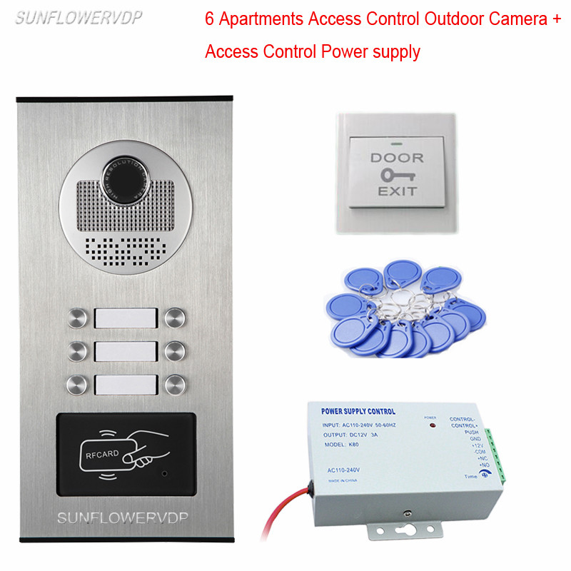 Video Door Entry Protector Rfid Intercoms For Apartments 6 Buttons CCD Outdoor Camera With Access Control Power Supply System