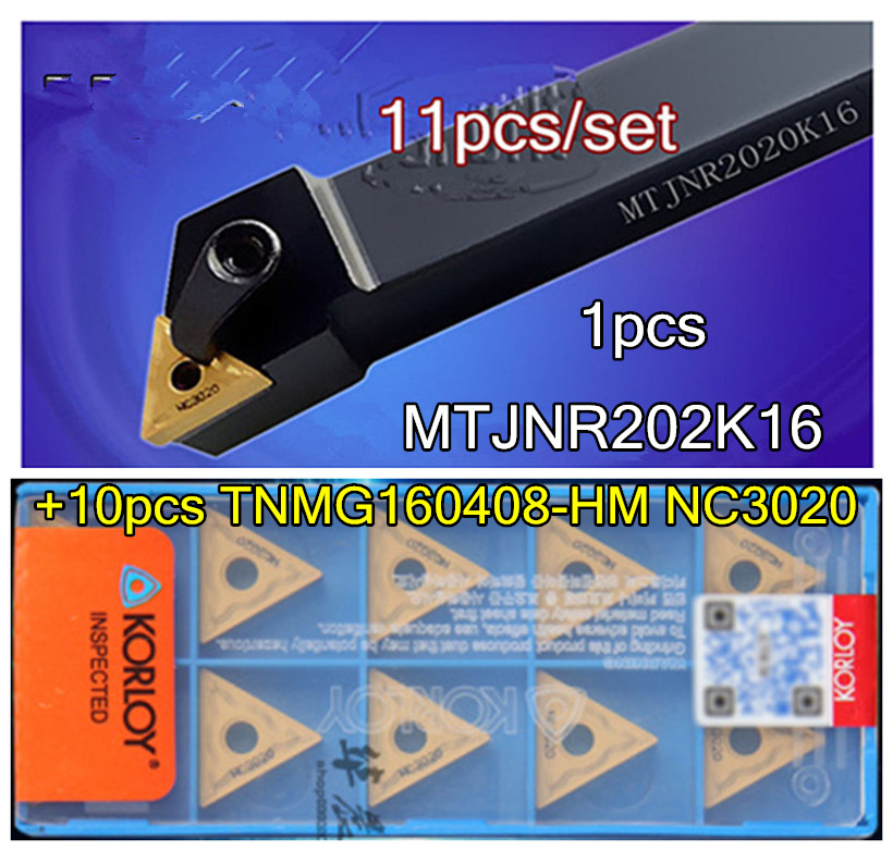 11pcs set MTJNR2020K16 20mm 1pcs TNMG160408 HM NC3020 10pcs Processing steel Free shipping