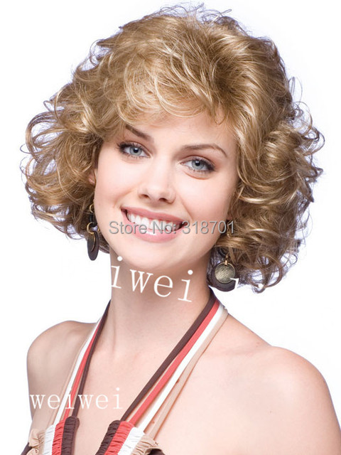 Blonde mix color Heat-resistant Fiber Curly None Lace Wigs for women Free shipping