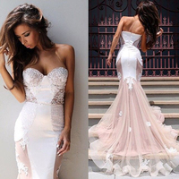 Sexy Sweetheart Appliques Beading Evening Gown Elegant Off The Shoulder Ivory Pink Mermaid Wedding Party Dress