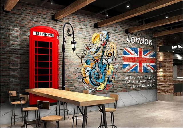 Kustom Foto 3d Wallpaper Non Woven Mural Wall Sticker Telepon Merah