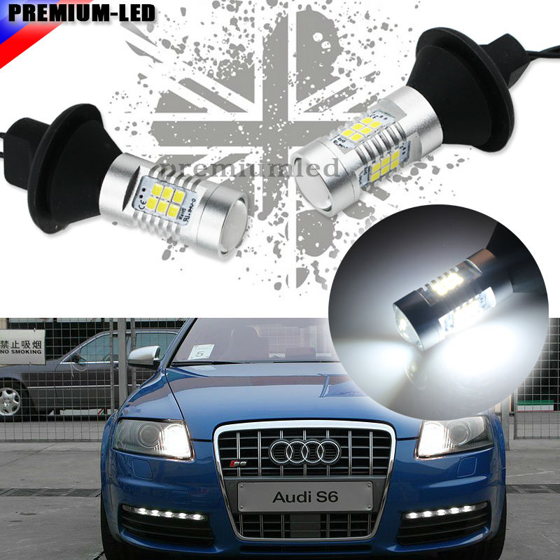 No Additional Resistor Required Xenon White 1156 7506 P21W LED Bulbs For Audi B7 A3 A4 A6 A8 Q7 S3 S4 S6 Daytime DRL Lights