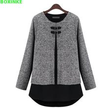 цены 2019 Cotton Top Kpop Unicorn Europe And The Large Size Women Autumn Winter Color Mosaic Knitting False Two Piece Fat Mm Shirt