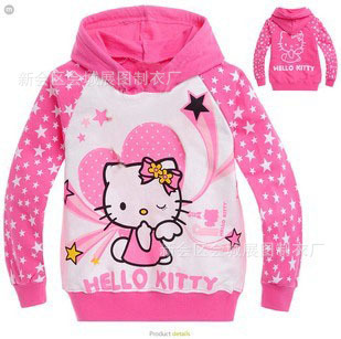5ad488947b4 Wholesale children's clothing Cartoon hello kitty 100% Cotton Long-sleeved  Hooded Sweater T-shirt size 95 100 110 120 130 140