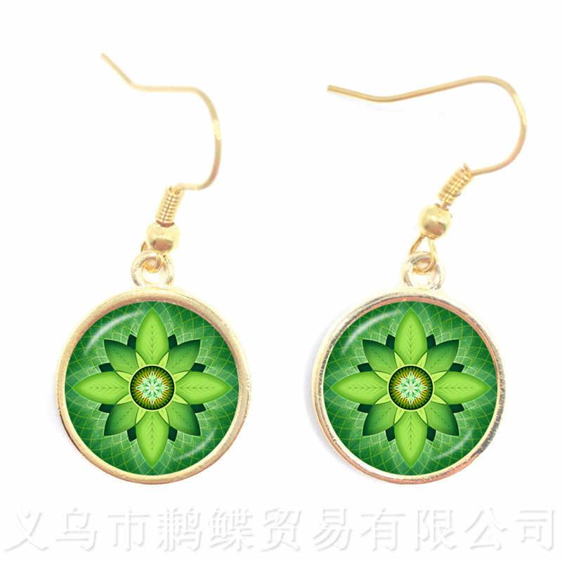 2018 Classic Lotus Mandala Jewelry Drop Earring Nail Henna Om Symbol Zen Buddhism Retro Handmade Yoga Pending for Mom Gift