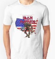 Free Shipping IRON MAIDEN FINAL FRONTIER USA T Shirts Men Cotton Man Tshirt O Neck Short
