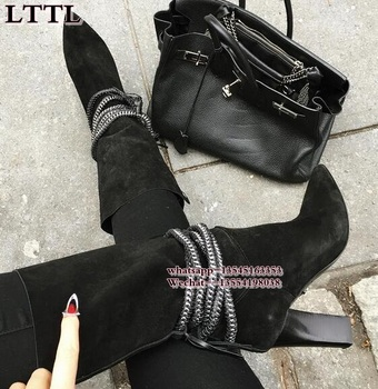 2019 high quality grey Black suede Leather slip-on Metal chain mid-calf boots pointed toe square thick heel woman booties