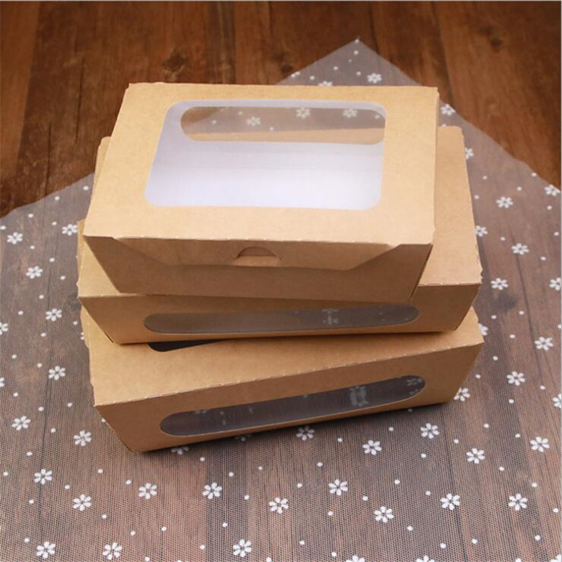 Kraft Paper PET Disposable Food Containers Window Transparent Salad Box Disposable Packing Boat Box Takeaway Sushi Box