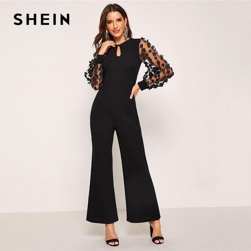 b4b9447ee9b4 SHEIN Black 3D Applique Sheer Sleeve Keyhole Front Jumpsuit Elegant Round  Neck Long Sleeve Women Autumn