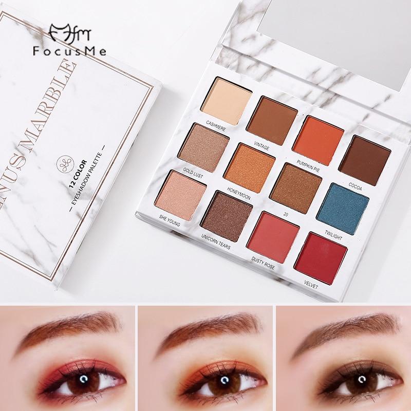 FM New 12 Colors Eyeshadow Palette Professional Metallic Shining Chic Shimmer Eyeshadow Palette Make Up Eye Shadows Maquiagem