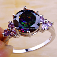 Wholesale Mysterious Round Cut Rainbow Topaz & Amethyst 925 Silver Ring Size 6 7 8 9 10 11 12 Fashion New Jewelry Free Shipping
